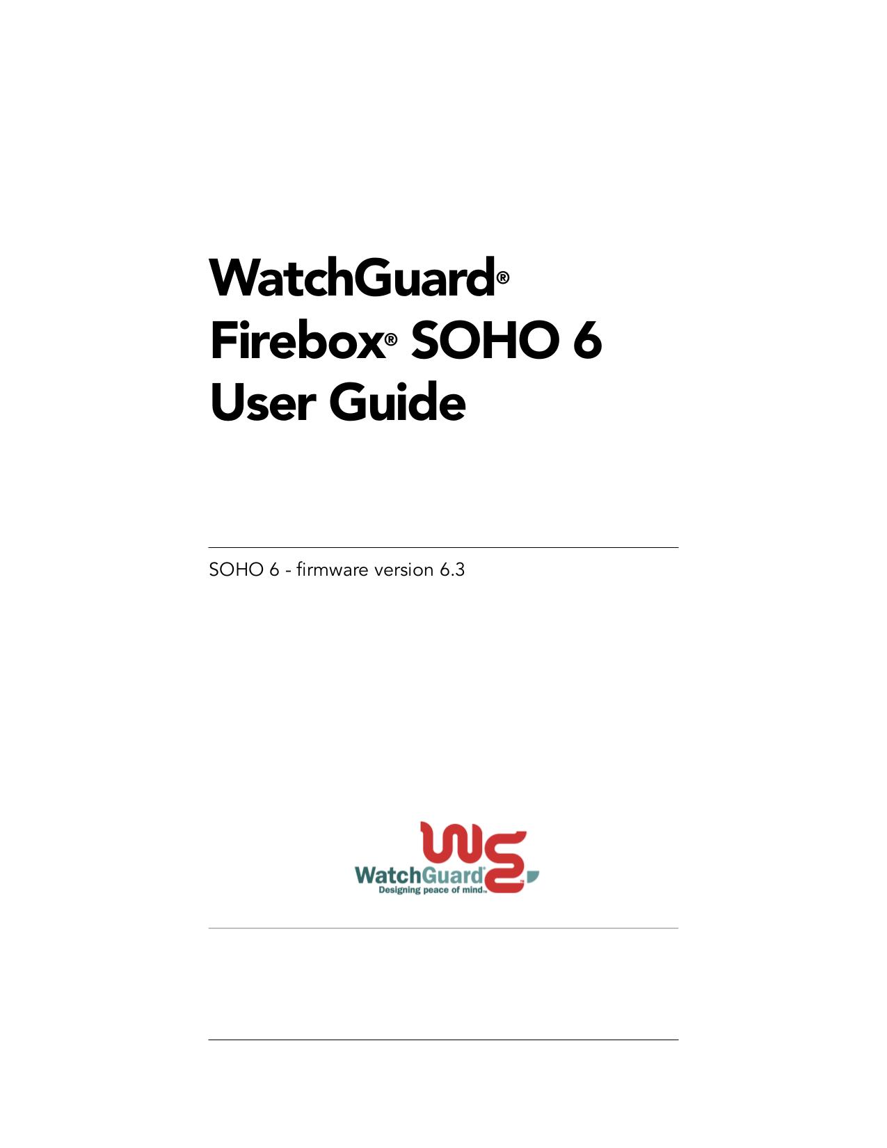 pdf for Watchguard Other Firebox SOHO 6 Wireless Firewall manual
