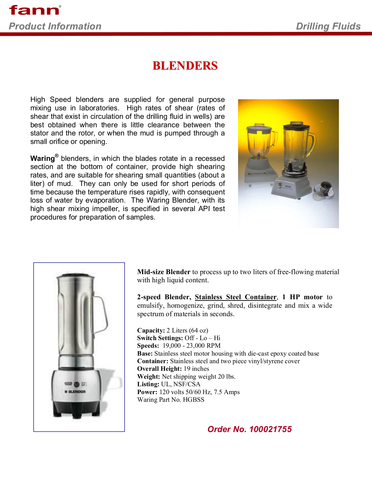 pdf for Waring Other 7011G Bleanders manual