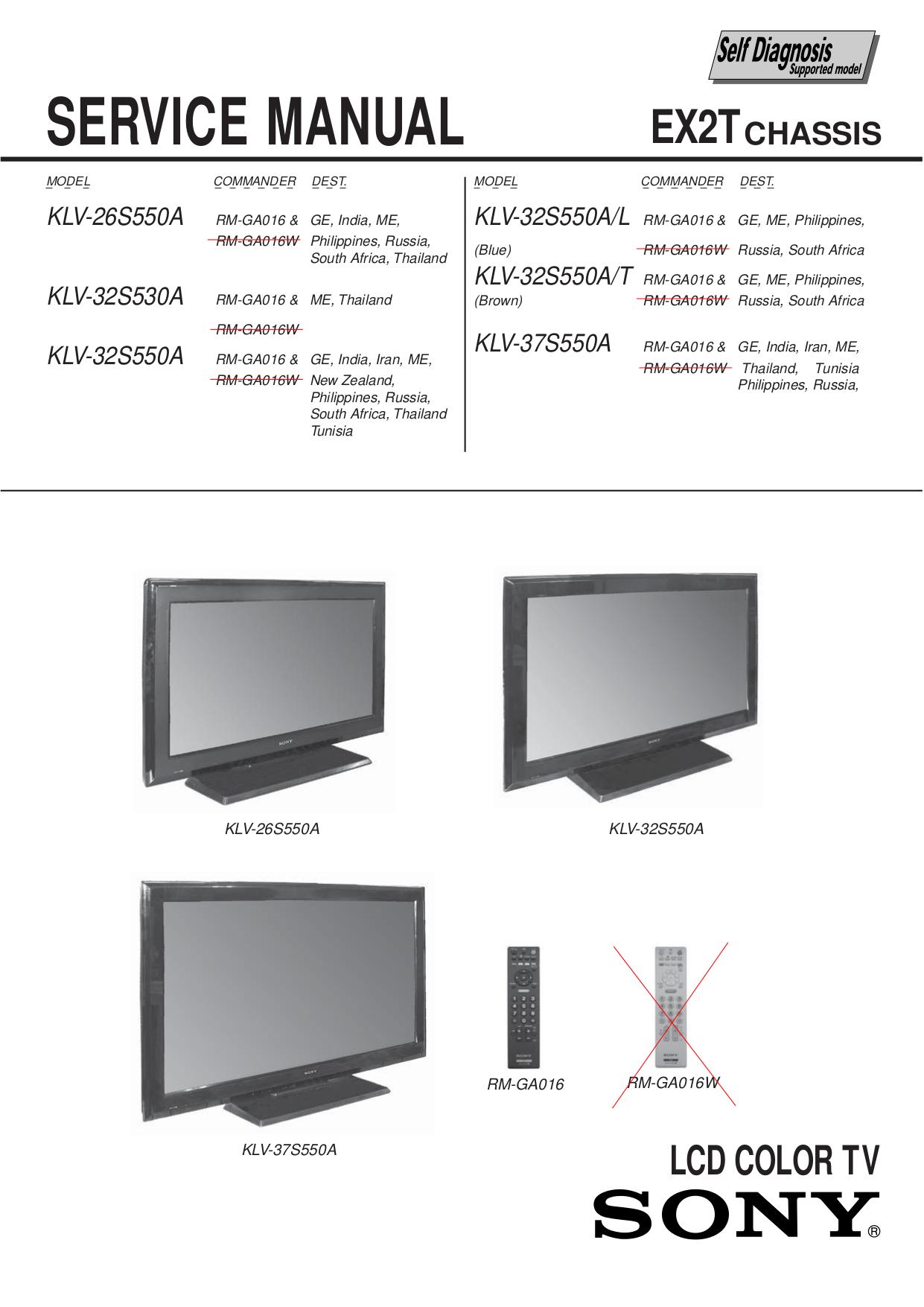 Kdl 32s3000 Service Manual