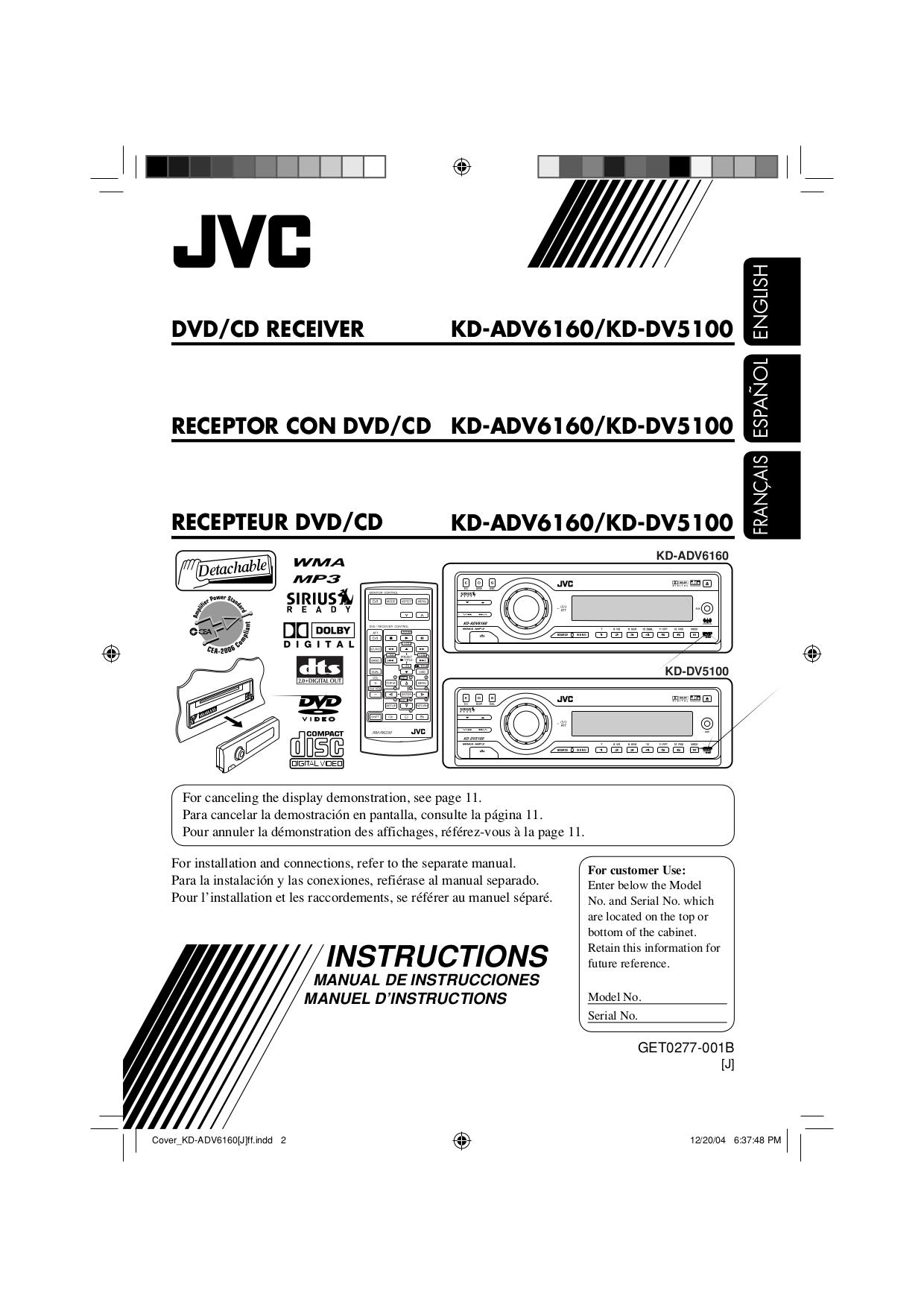 pdf for JVC Headphone HA-FR50 manual