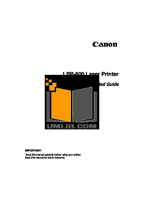 pdf for Canon Printer LBP-800 manual