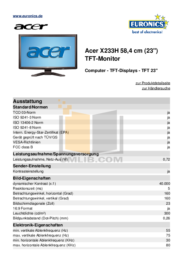 pdf for Acer Monitor X233H manual