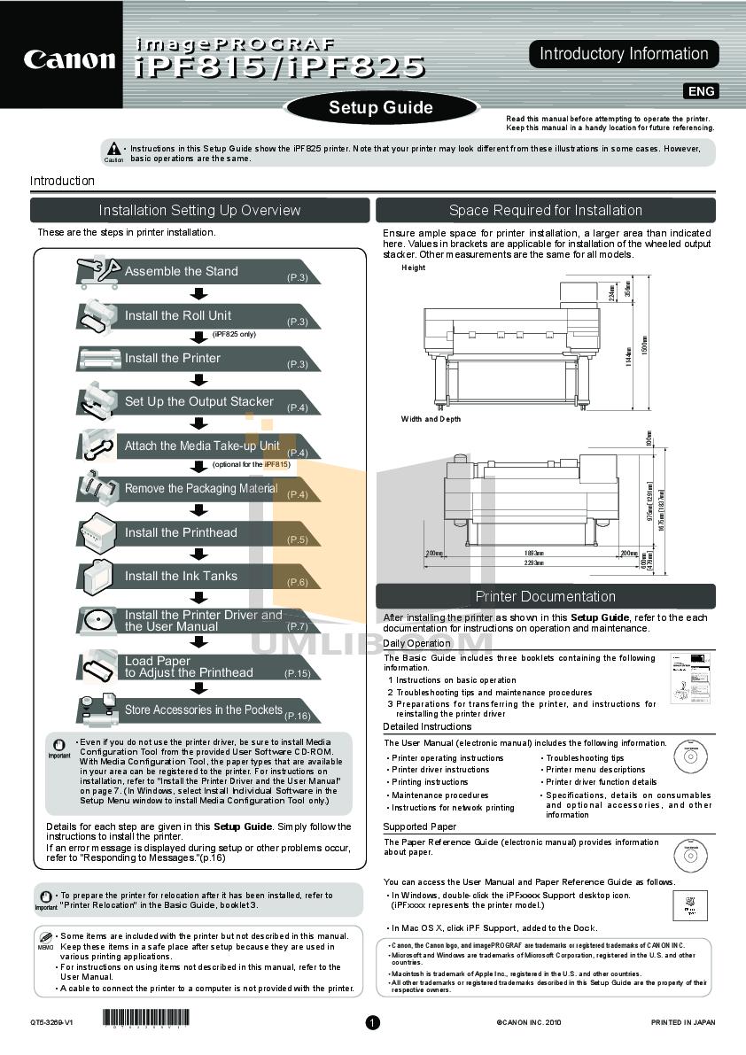 pdf for Canon Printer imagePROGRAF iPF825 manual