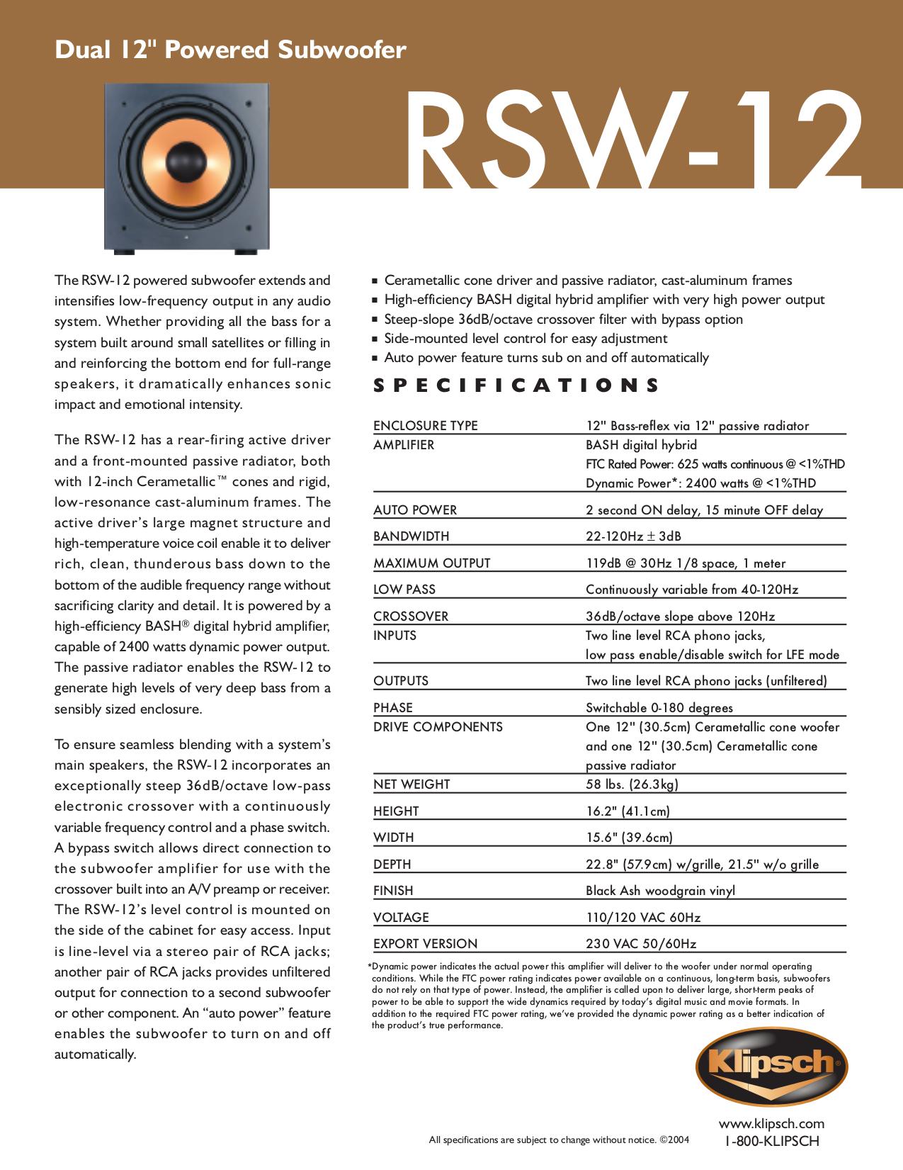 Klipsch Rsw 12 Manual