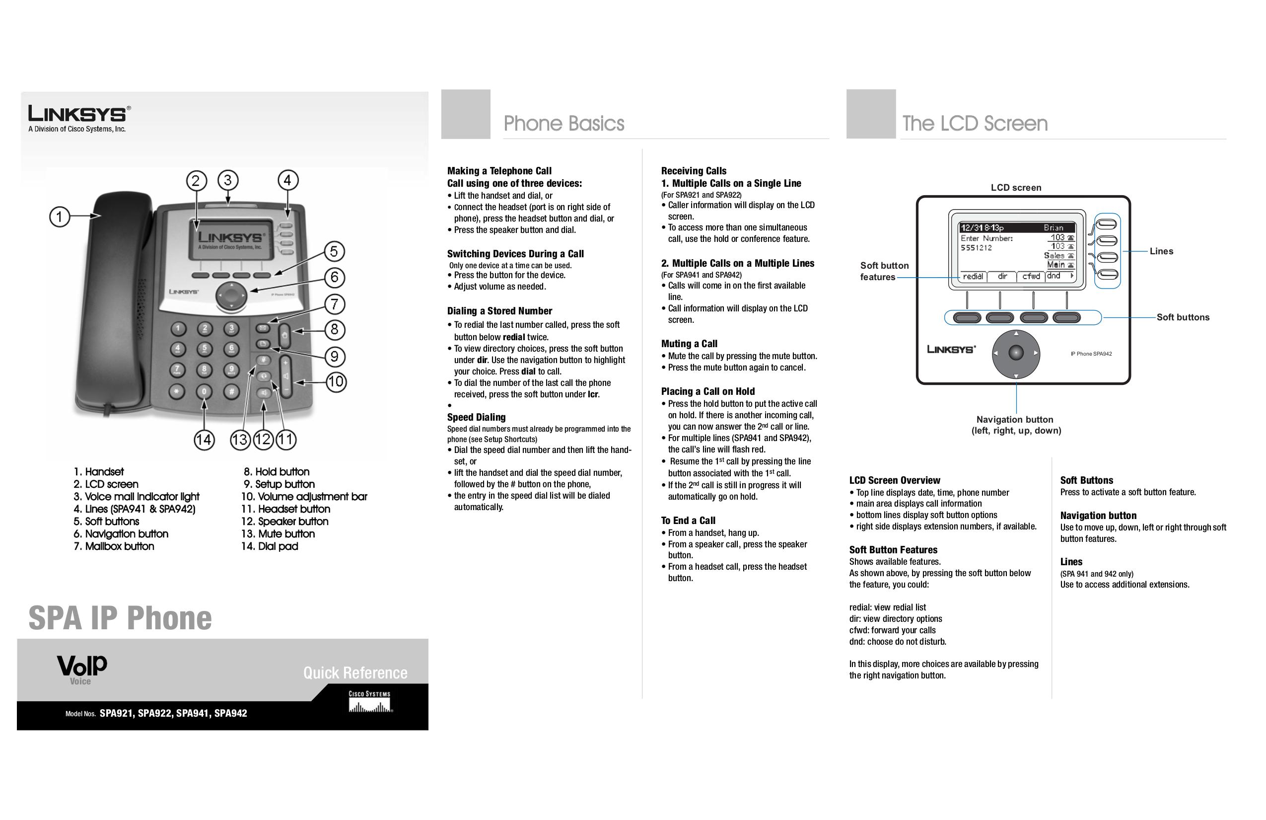 pdf for Linksys Telephone SPA942 manual