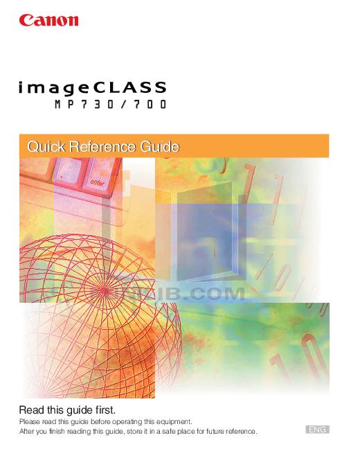 pdf for Canon Printer imageCLASS MP730 manual