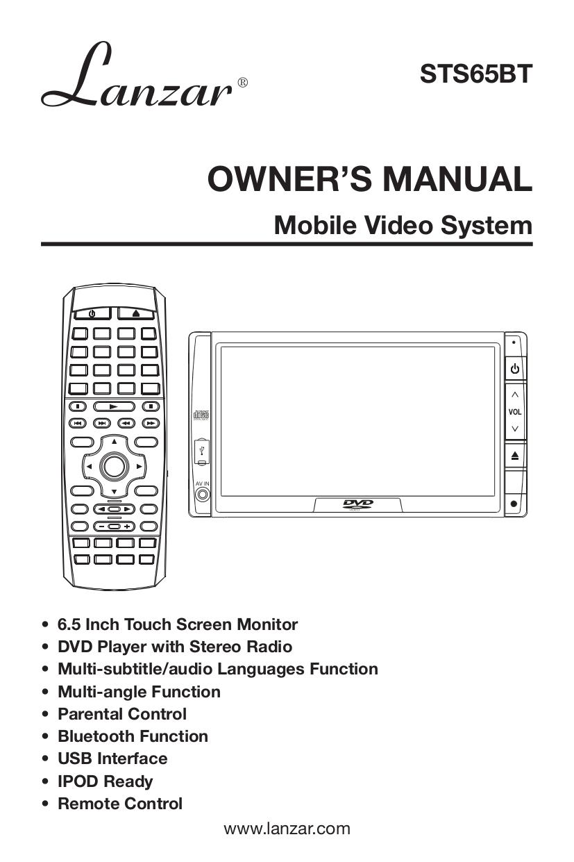 pdf for Lanzar Car Video STS65BT manual