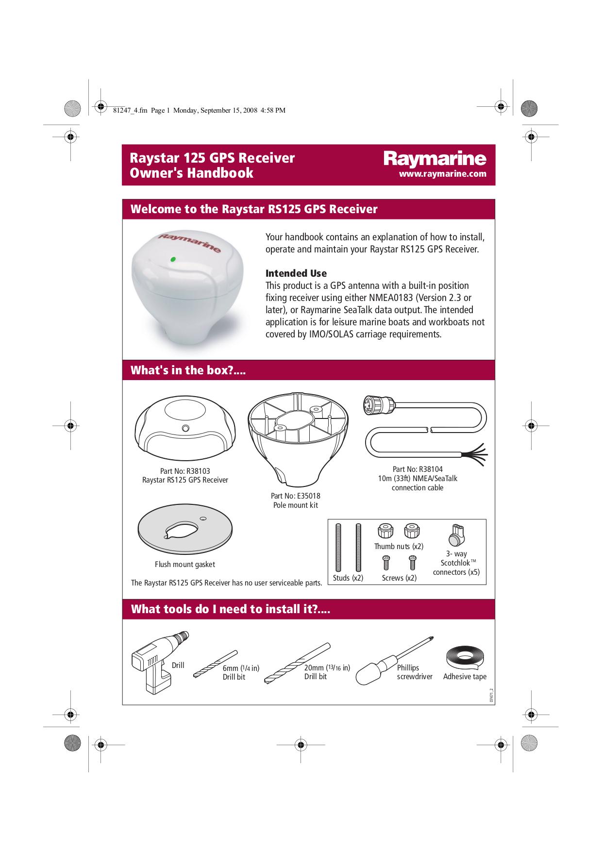 E120 Raymarine owners manual