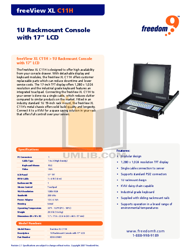 pdf for Freedom9 Monitor freeView XL C11H manual