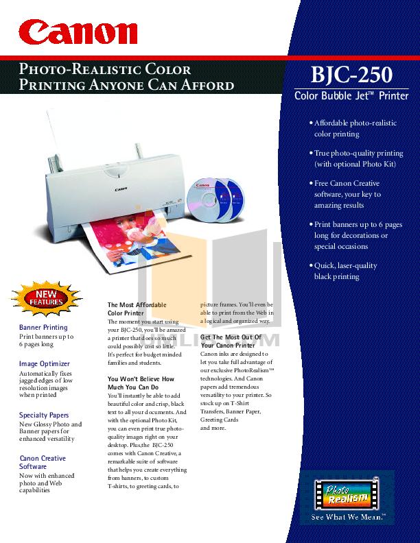 pdf for Canon Printer BJC-250 manual