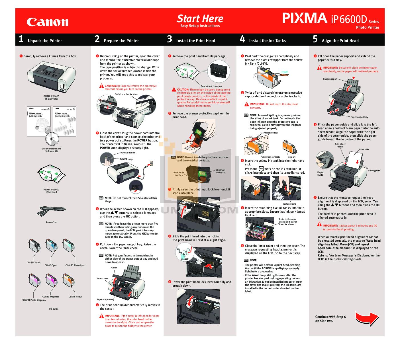 pdf for Canon Printer PIXMA iP6600D manual
