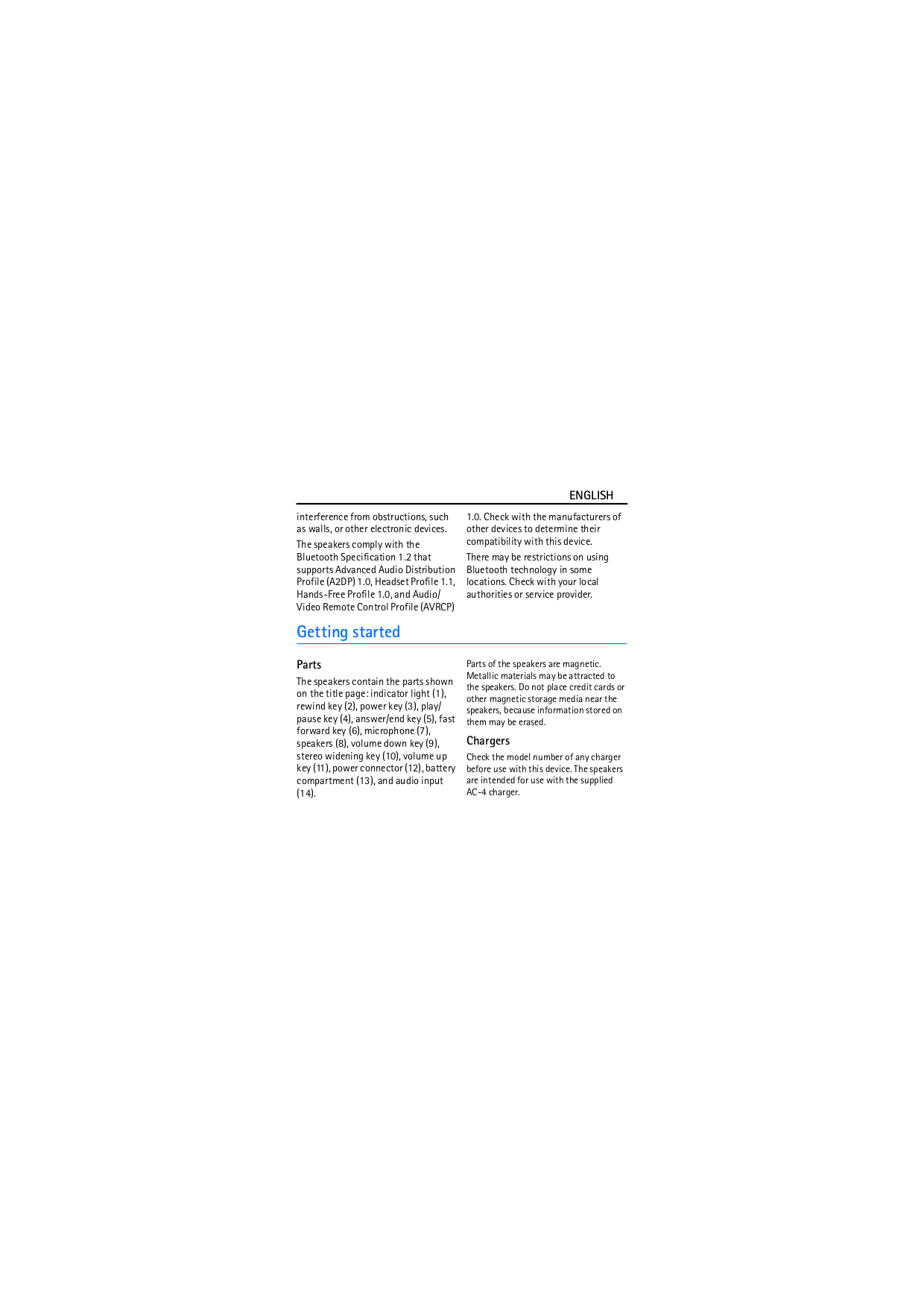 Nokia Speaker MD-8 pdf page preview