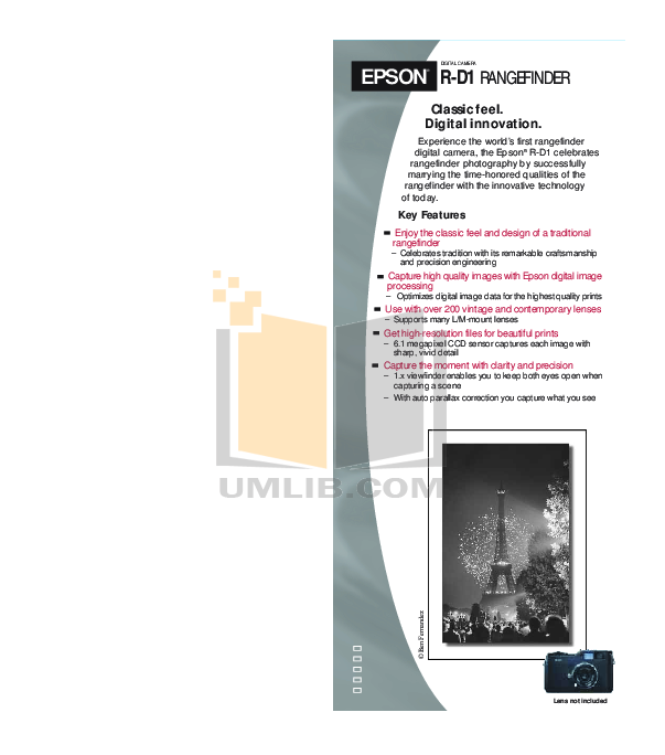 pdf for Epson Digital Camera R-D1 manual