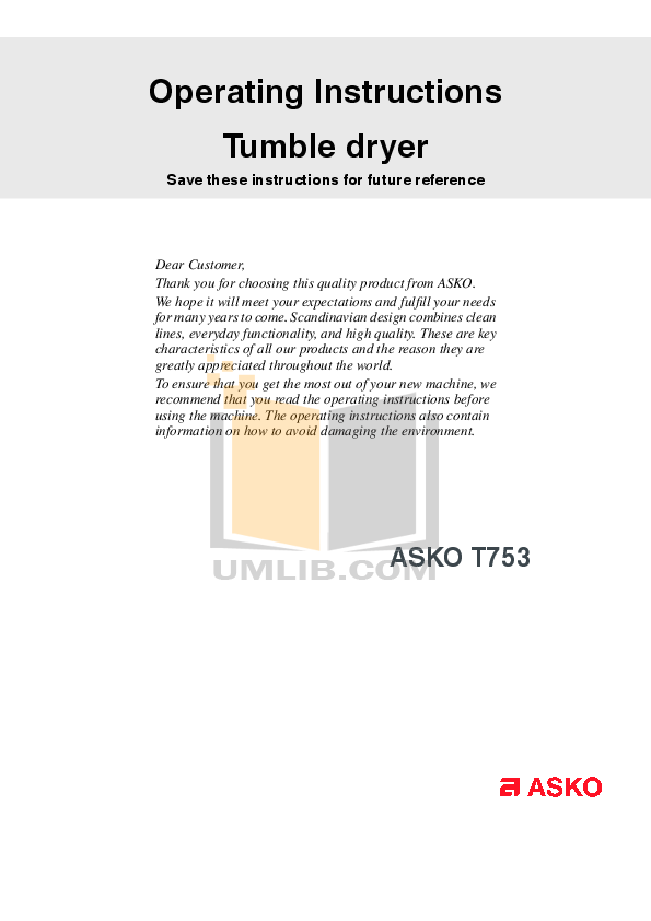 pdf for Asko Dryer T753 manual