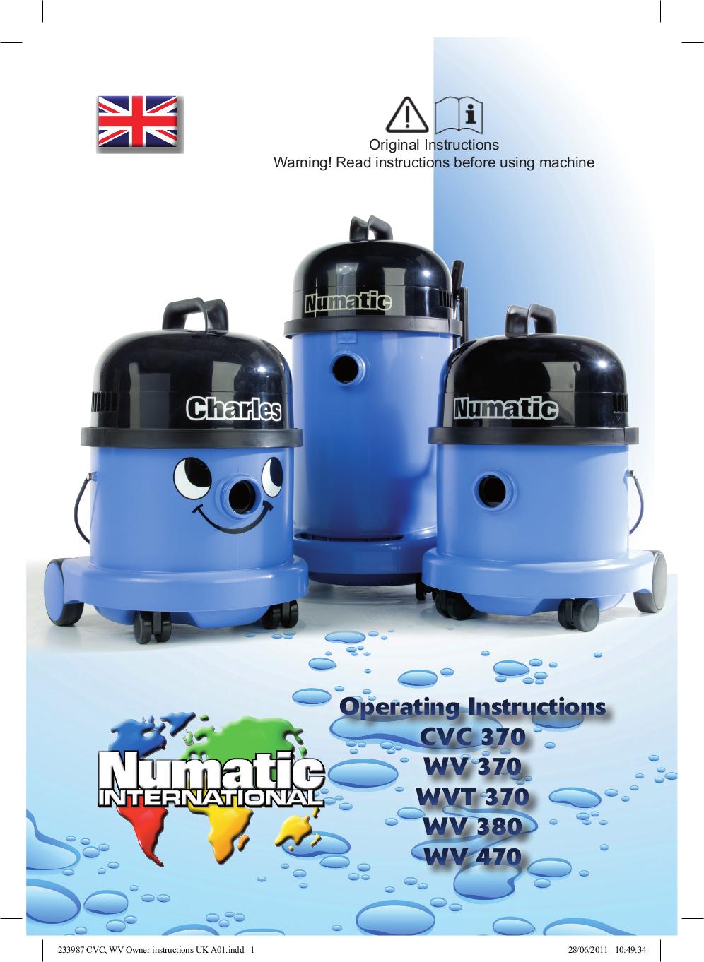 pdf for Numatic Vacuum WV370-2 manual