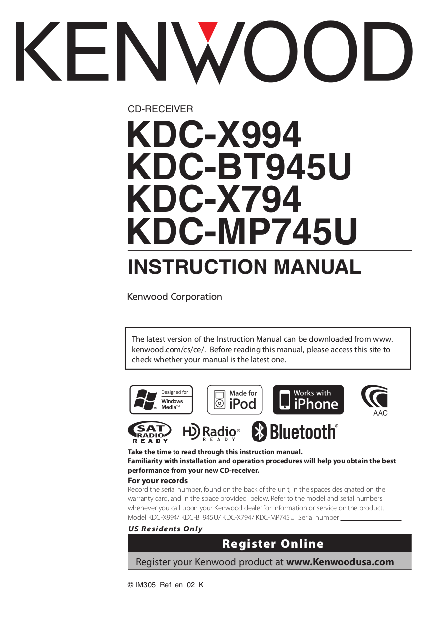 Kenwood Kdc X994 Wiring Diagram 31 Images Cd Player With Bluetooth Pdf For Receiver Ar 404 Manual