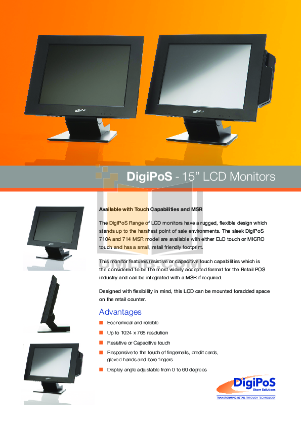 pdf for DigiPos Monitor 714MSR manual