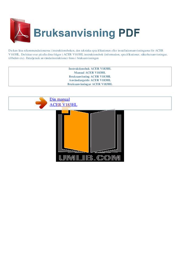 pdf for Acer Monitor V183HL manual