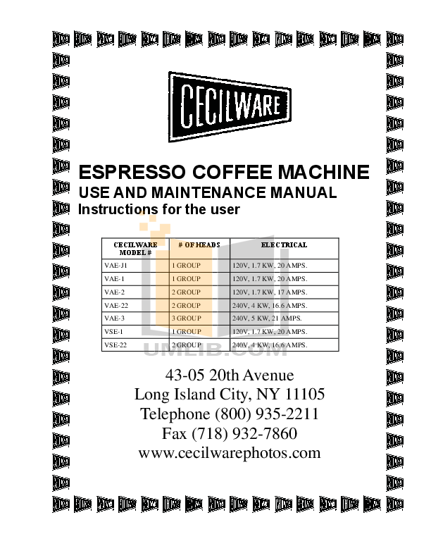 pdf for Cecilware Coffee Maker JAVA GIANT 3 manual