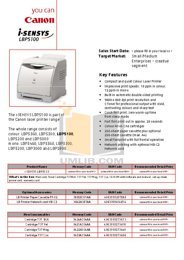 pdf for Canon Printer LBP-5100 manual