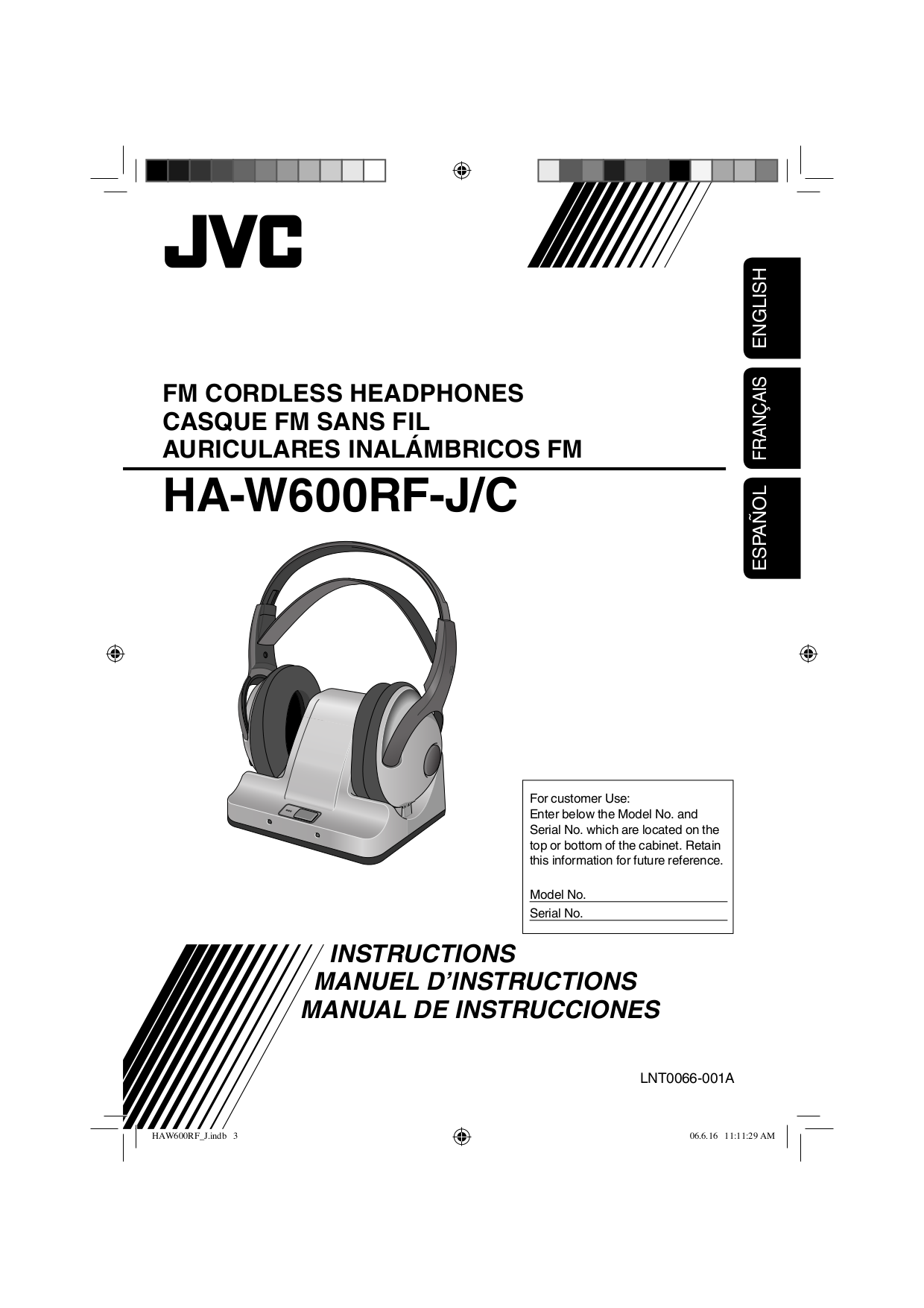 pdf for JVC Headphone HA-W600RF manual