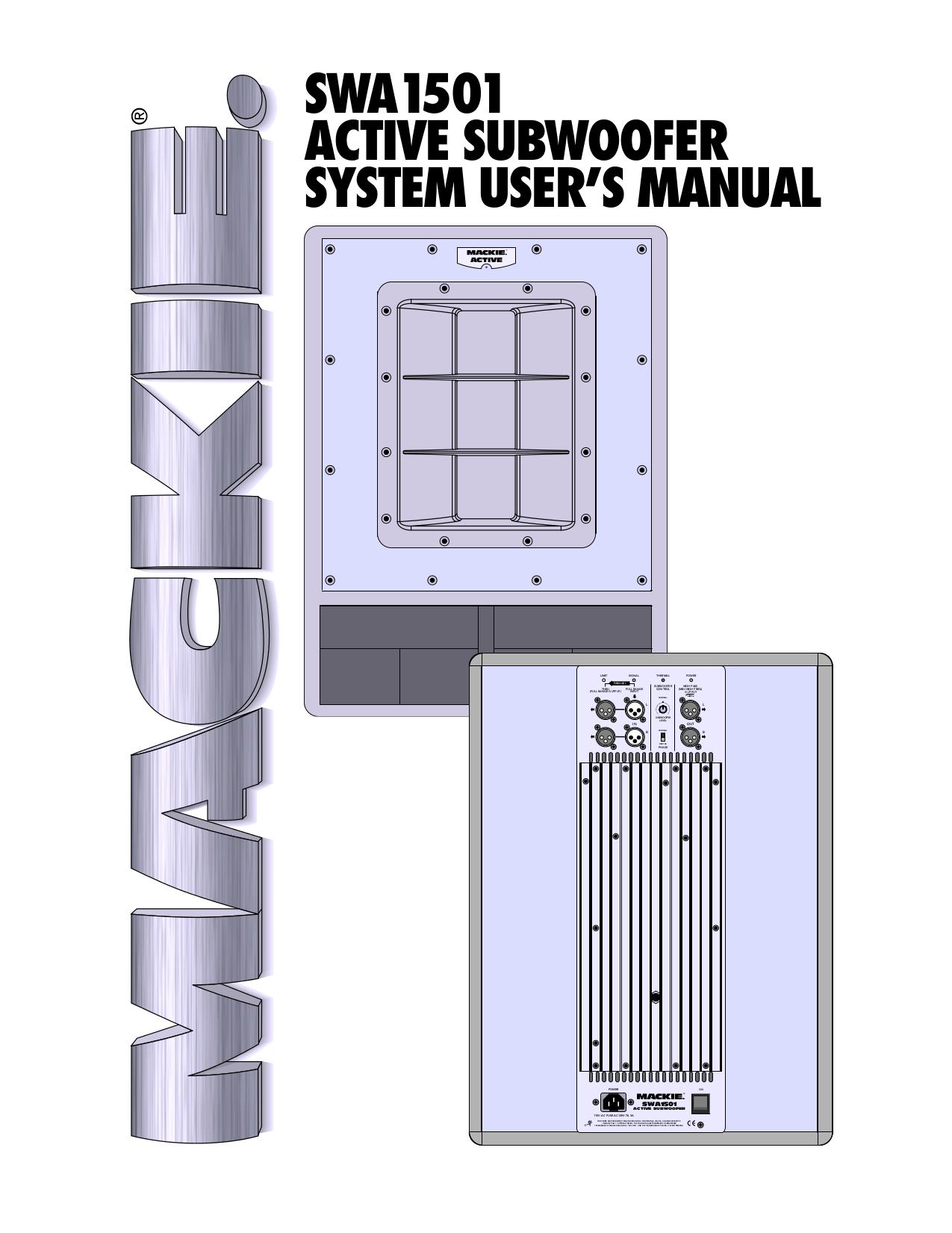 pdf for Mackie Speaker System SRM450 manual