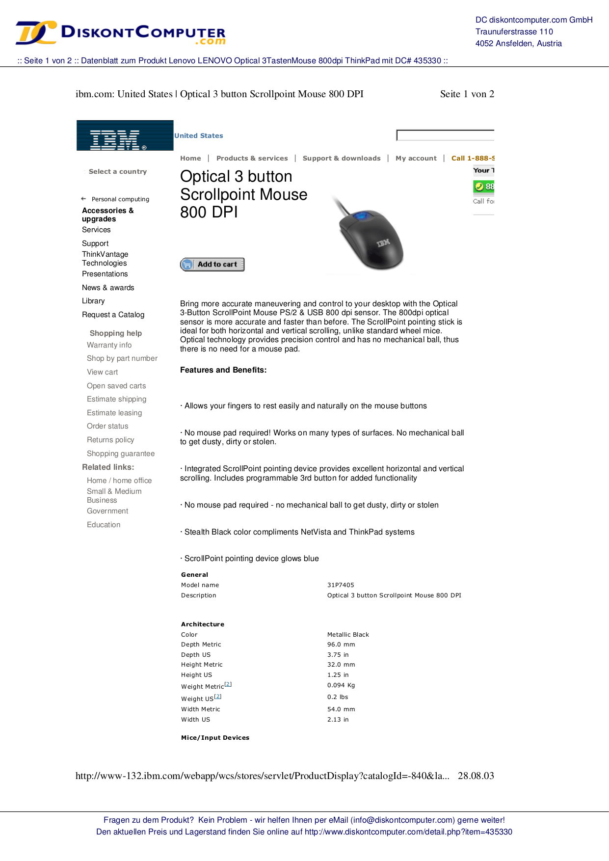 pdf for Lenovo Mouse Scrollpoint Mouse manual