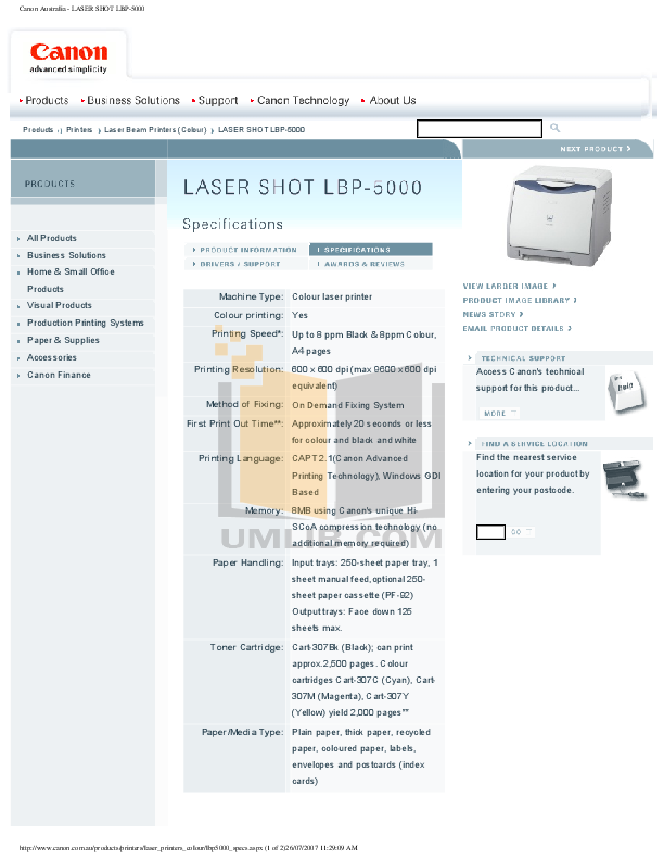 pdf for Canon Printer LBP-5000 manual