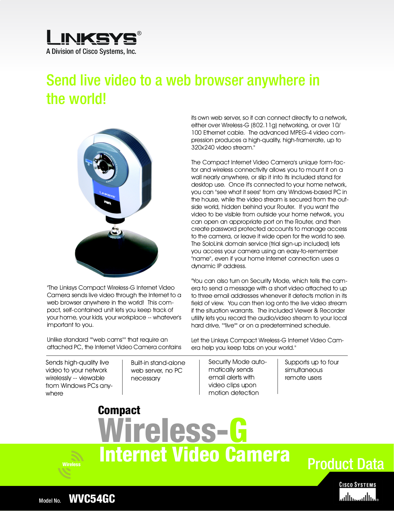 pdf for Linksys Security Camera WVC54GC manual