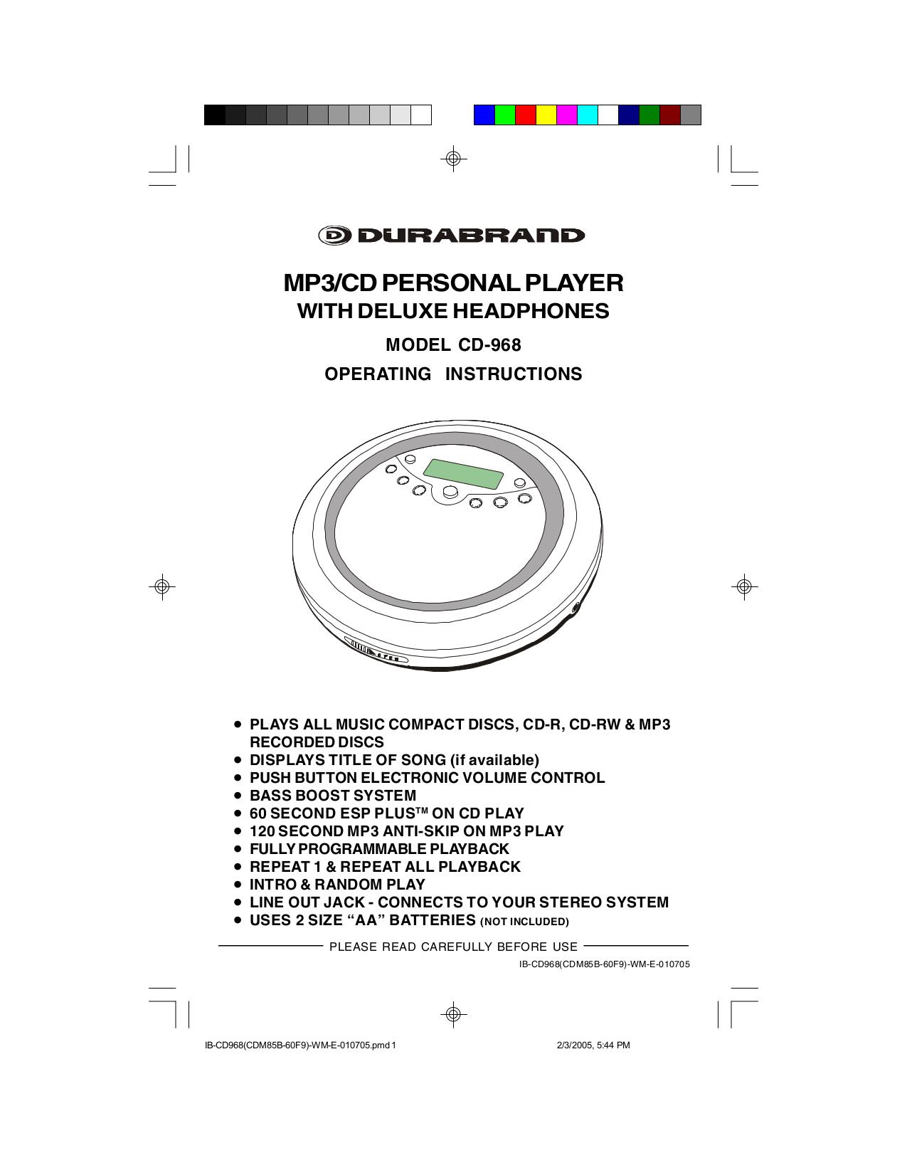 pdf for Lenoxx CD Player CD-968 manual