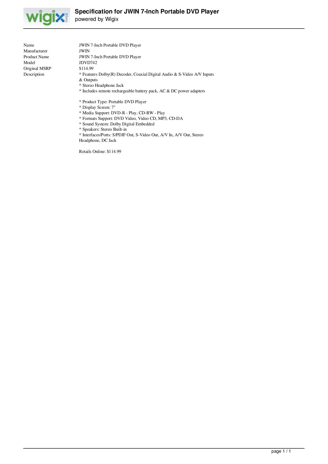 pdf for jWIN Portable DVD Player JD-VD742 manual