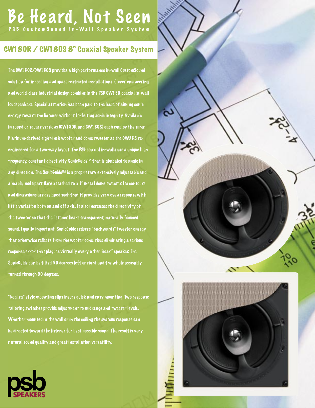 pdf for PSB Speaker System CustomSound CW180S manual
