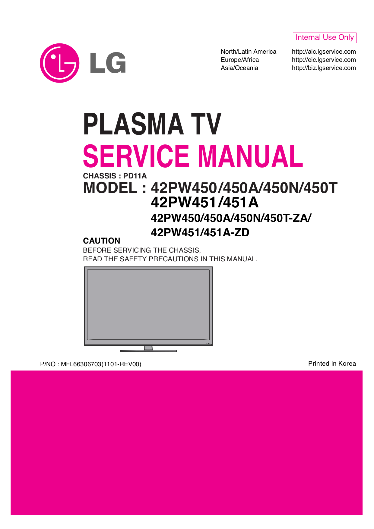 pdf for LG Plasma TV 42PW350 manual