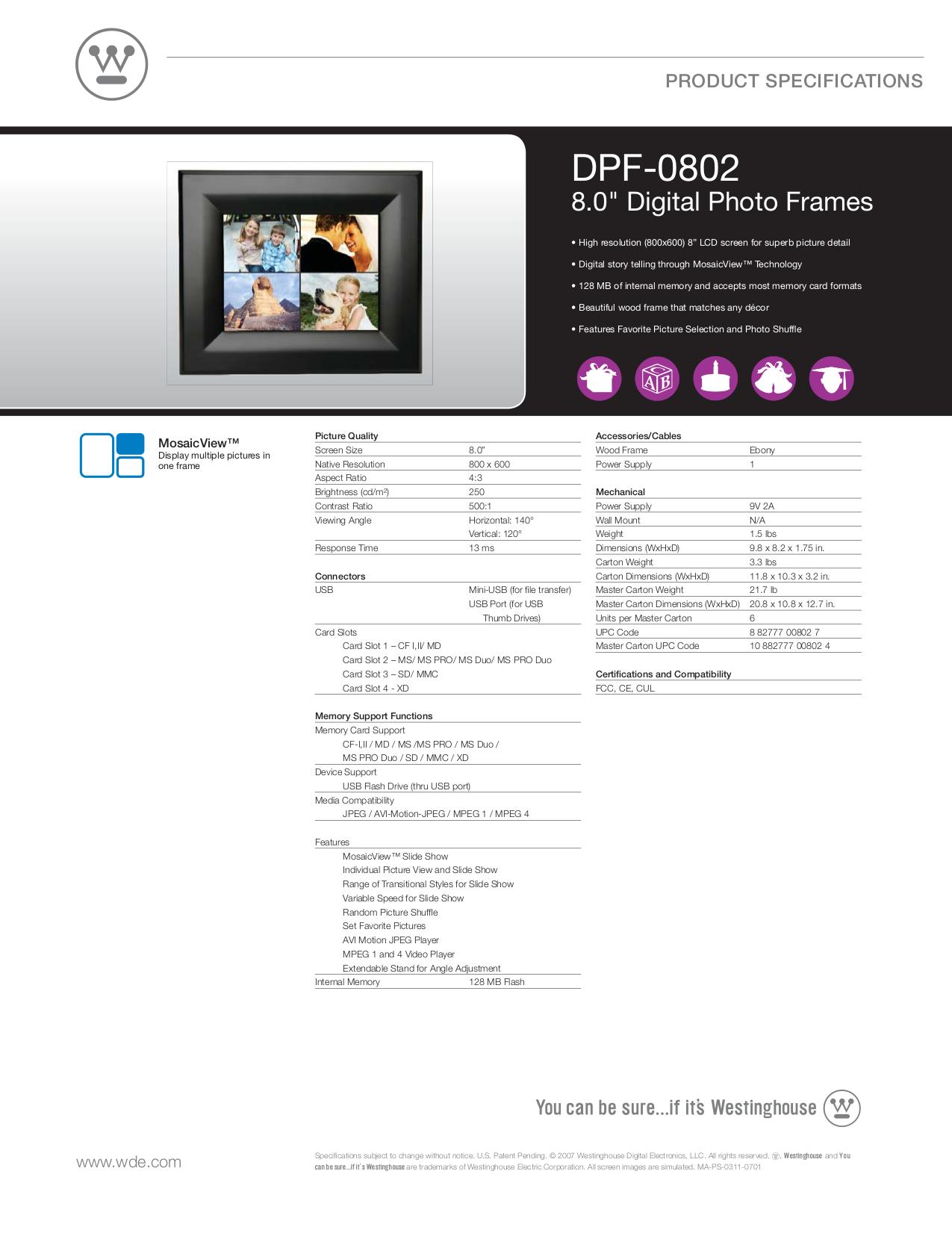 pdf for Westinghouse Digital Photo Frame DPF-0802 manual