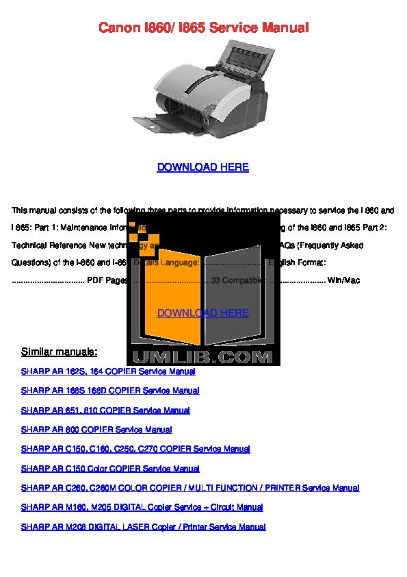pdf for Canon Printer i865 manual