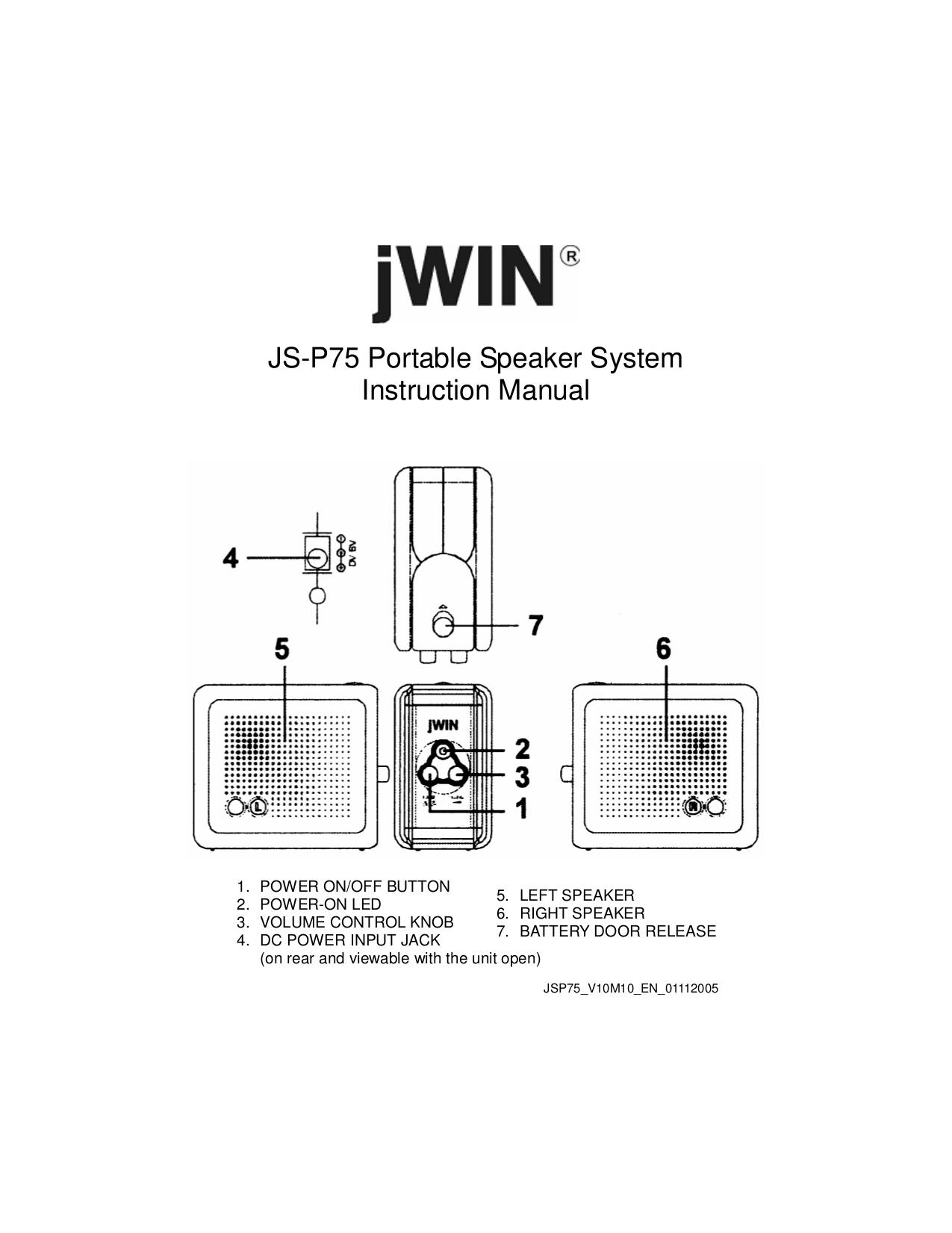 pdf for jWIN Speaker JS-P75 manual