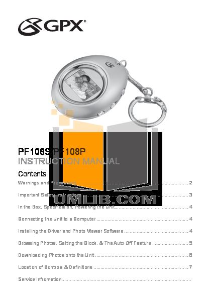 pdf for GPX Digital Photo Frame PF108S manual