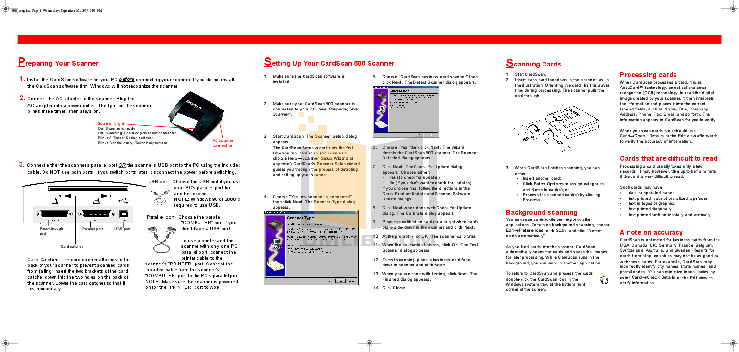 pdf for Cardscan Scanner 600cx manual