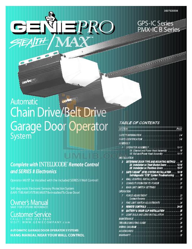 Genie Promax Chain Glide 2 Garage Door Opener Manual