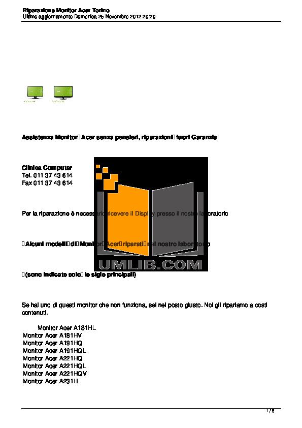 pdf for Acer Monitor AL1513 manual