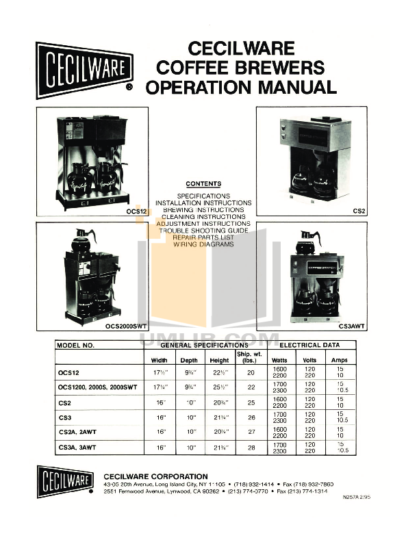 pdf for Cecilware Coffee Maker CS2A manual