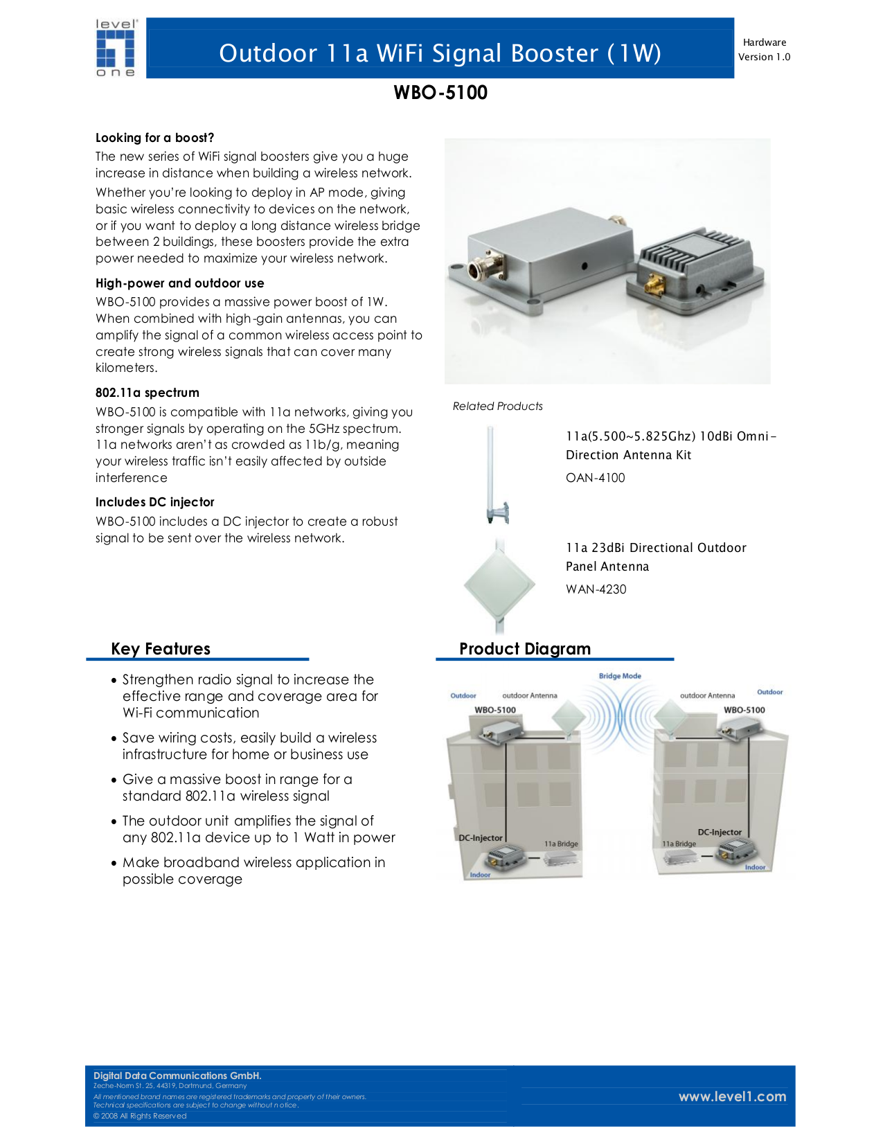 pdf for LevelOne Other WBO-5100 WiFi Signal Boosters manual