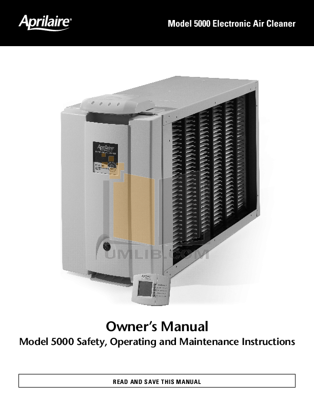 pdf for Aprilaire Air Purifier 5000 manual
