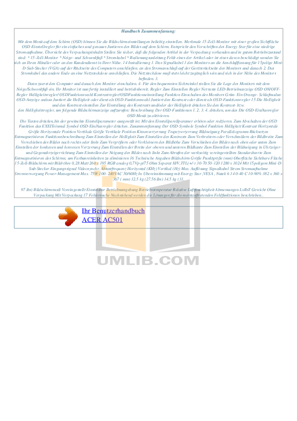 Acer Monitor AC501 pdf page preview