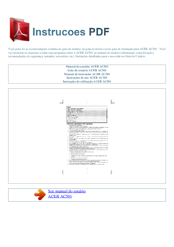 pdf for Acer Monitor AC501 manual