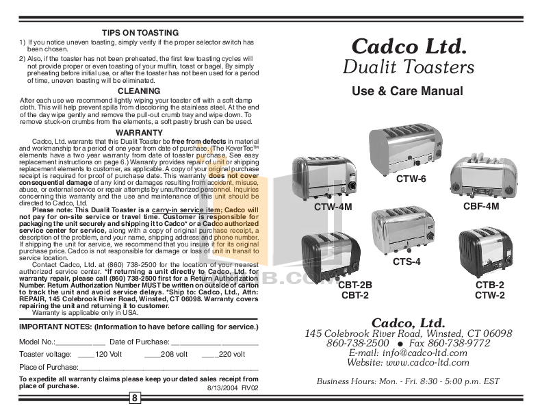 pdf for Cadco Other CTW-6 Toasters manual