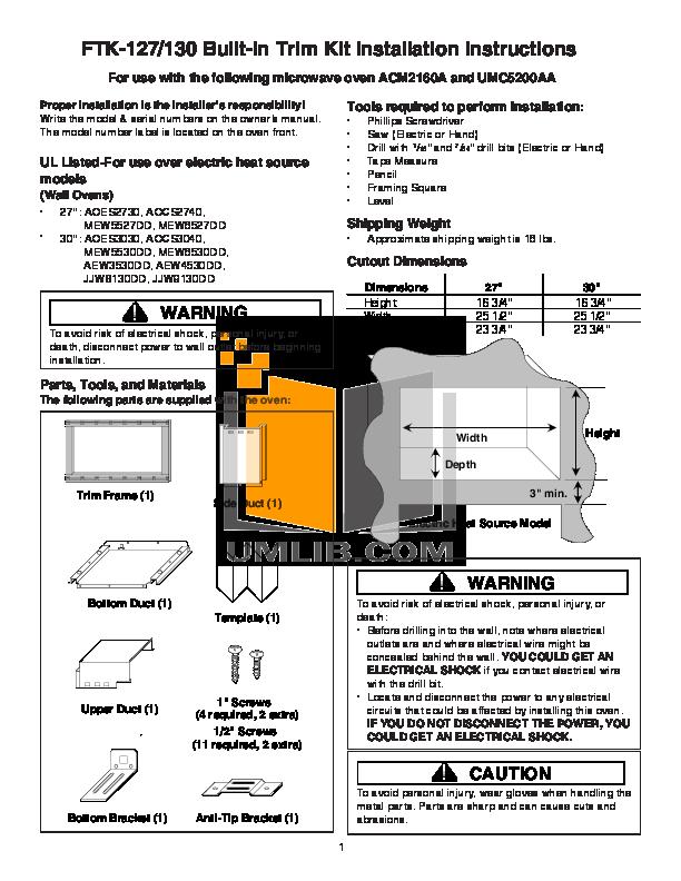 pdf for Amana Oven AEW4530DD manual