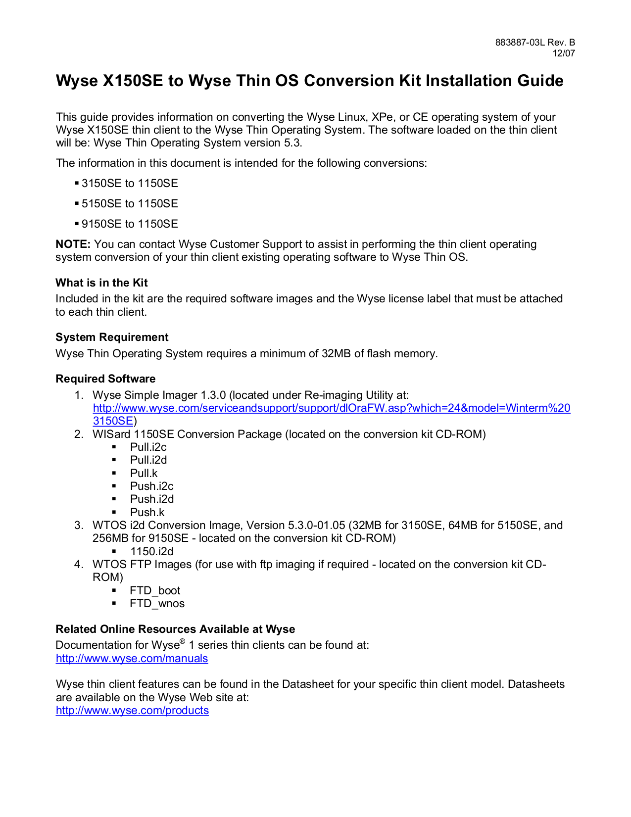 pdf for Wyse Desktop Winterm 3150SE manual