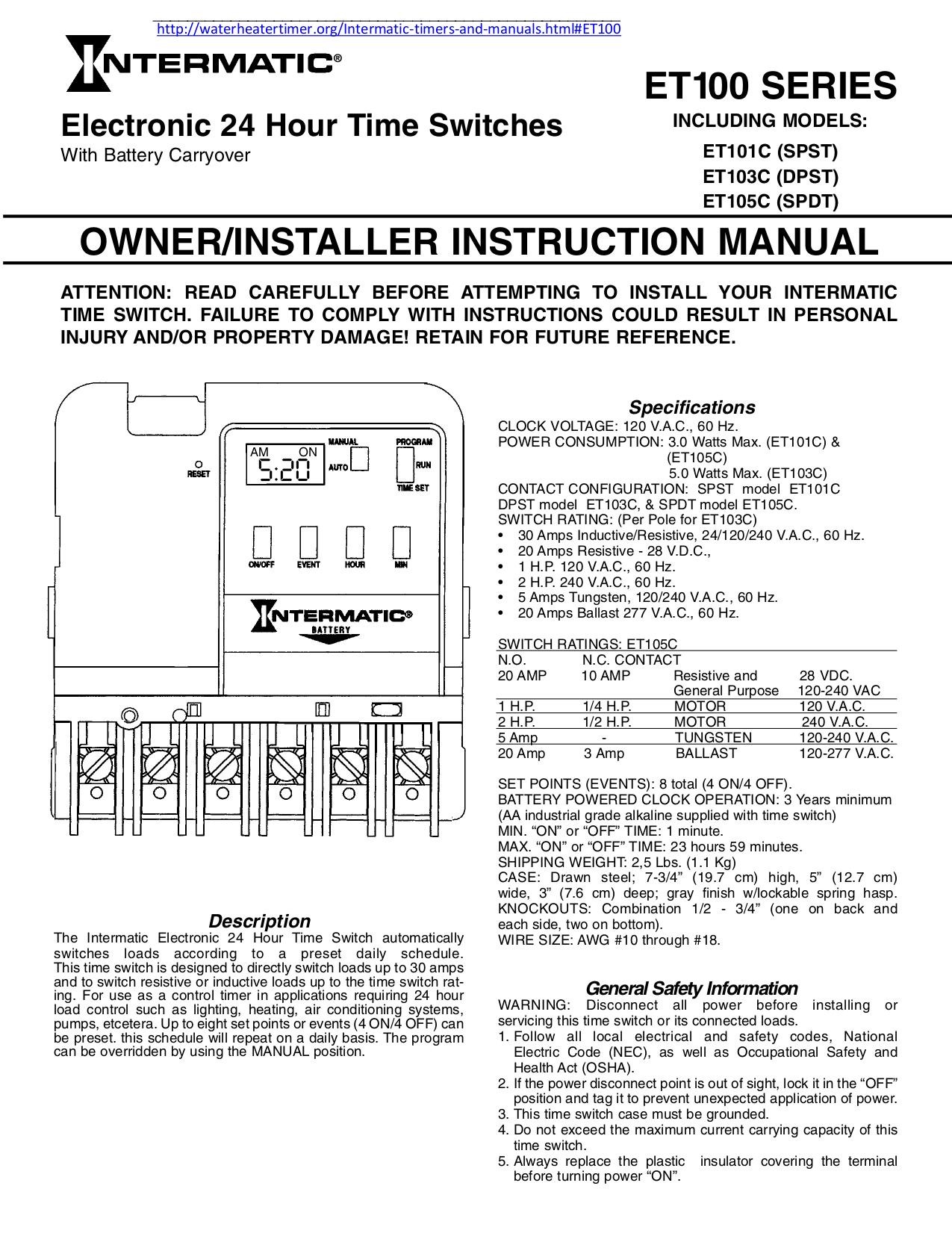 Intermatic Timer Wiring Diagram On Wiring Diagram Intermatic T101