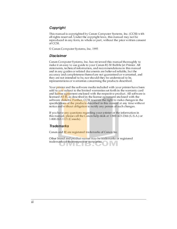 pdf for Canon Printer BJ-200E manual